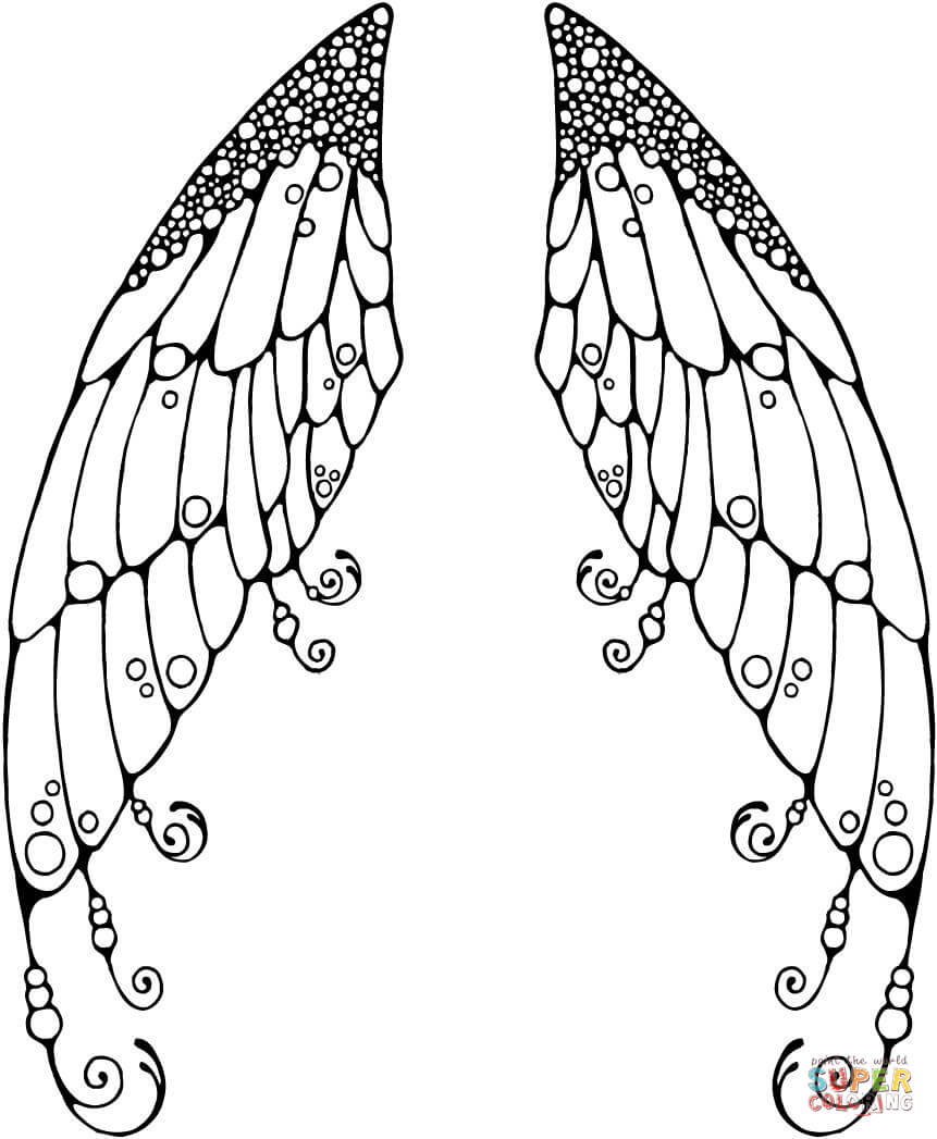 861x1047 Double Fairy Wings Coloring Page Pages