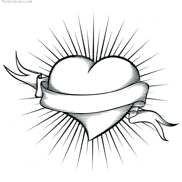 618x618 Heart With Wings Coloring Pages Heart With Ribbon Drawings