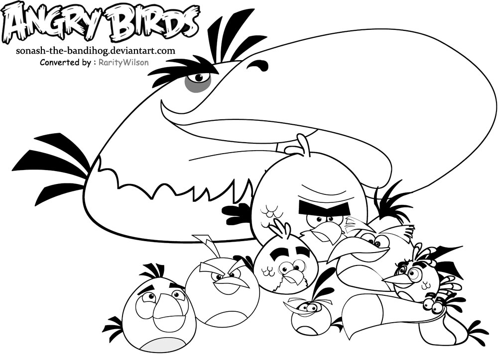 1000x718 Angry Birds Coloring Pages Team Colors