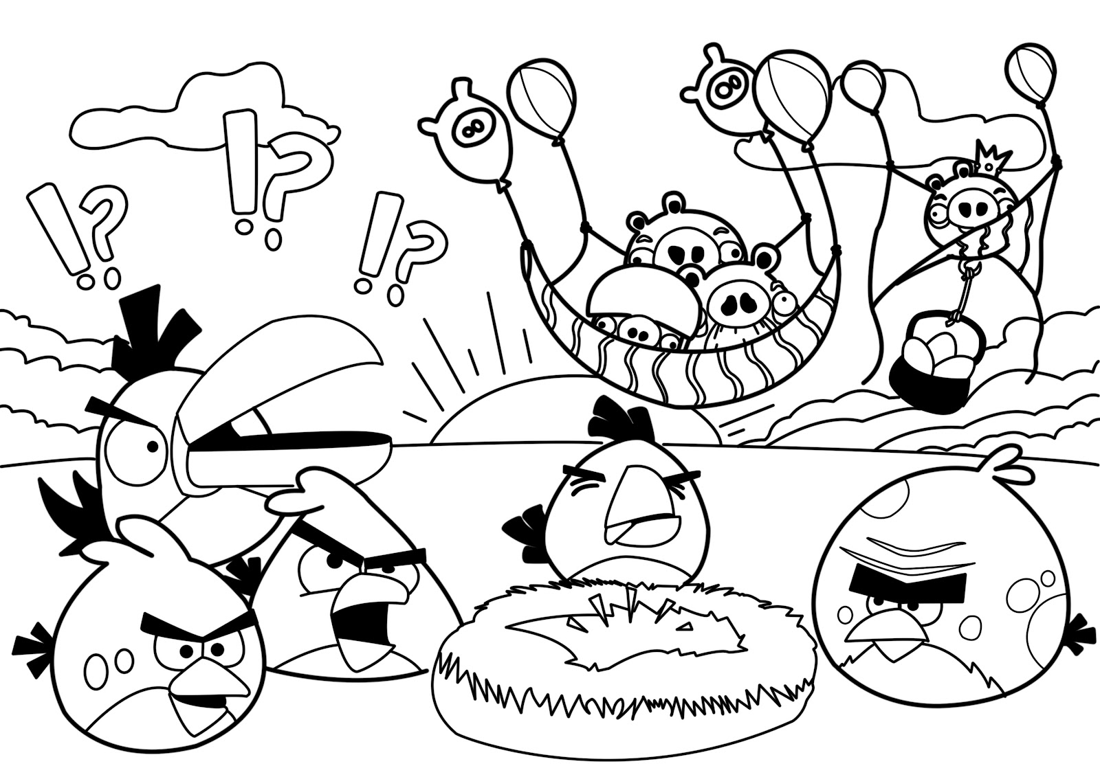 1600x1131 Angry Birds Coloring Pages