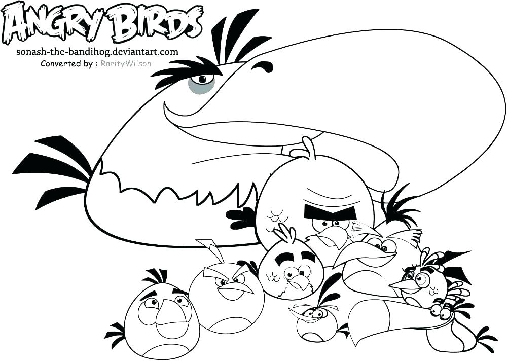 1000x718 Angry Bird Coloring Pages Angry Birds Coloring Pages Free Free