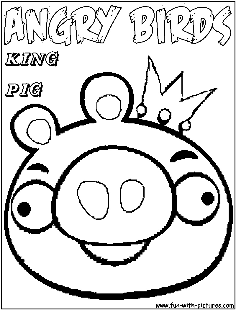 800x1050 Angry Birds King Pig Coloring Page