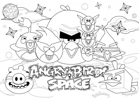 590x417 Angry Birds Space Coloring Pages Kids Coloring Pages