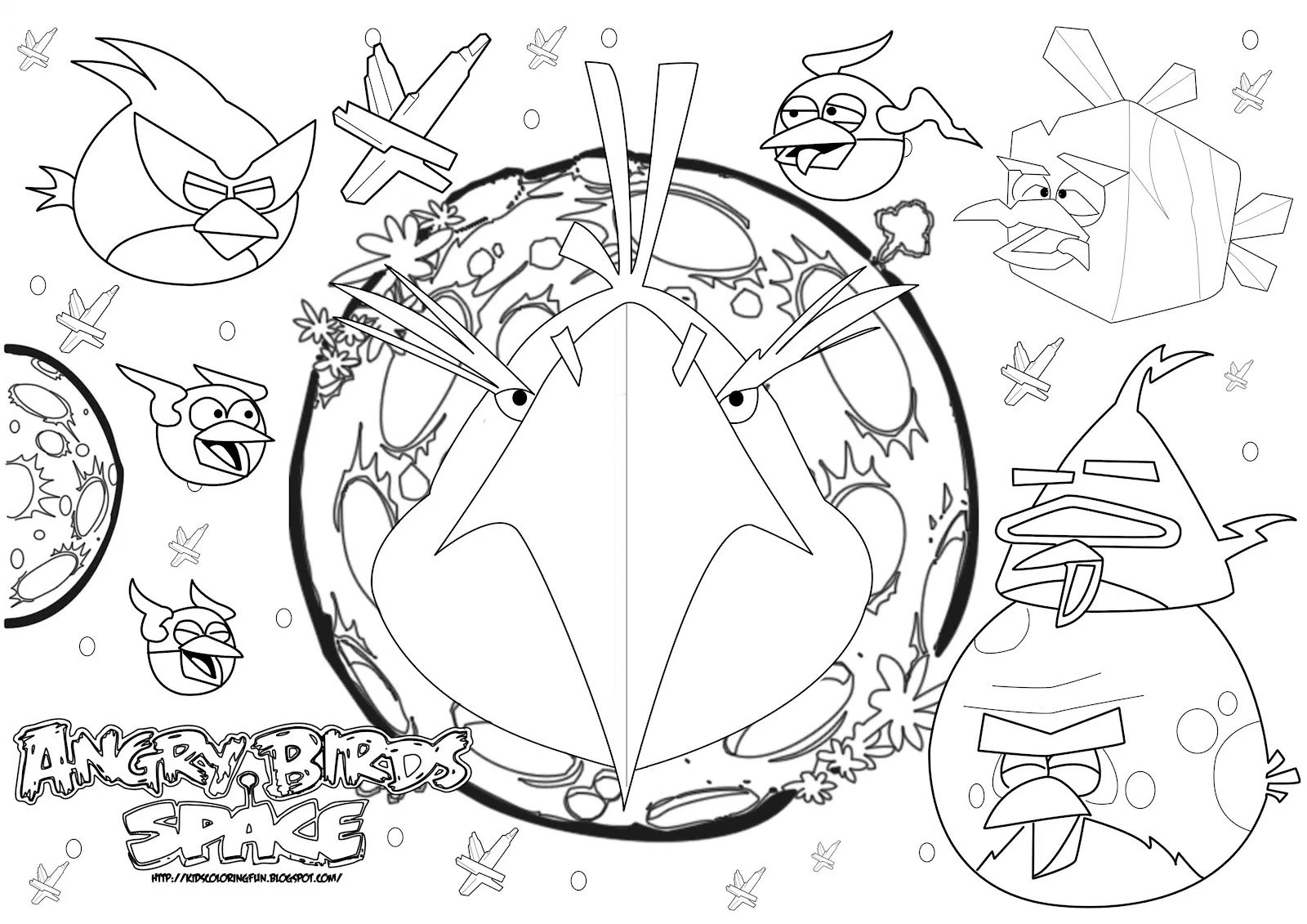 1600x1131 Angry Birds Space Coloring Page Bomb Bird In P