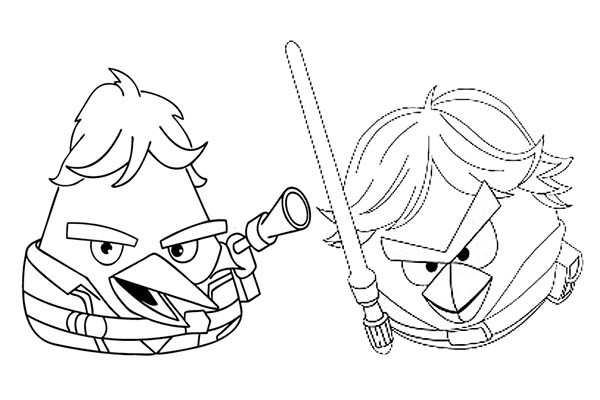 600x400 Angry Birds Star Wars Han Solo And Luke Skywalker Coloring Pages