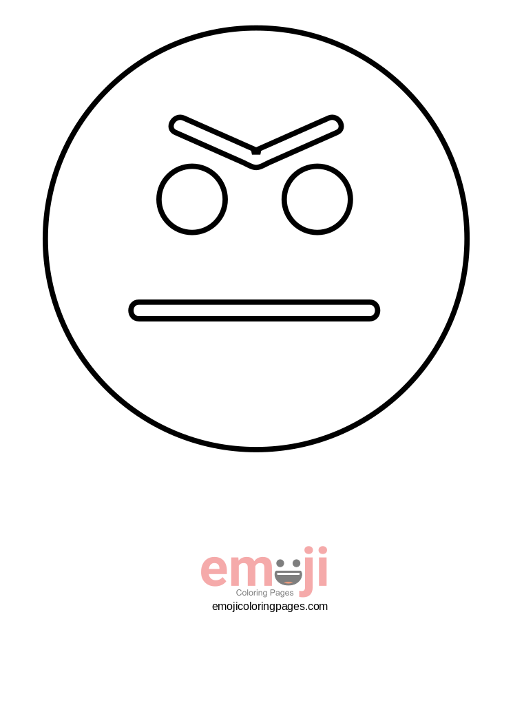 745x1053 Emoji Grumpy Face Or Angry Face Coloring Pages