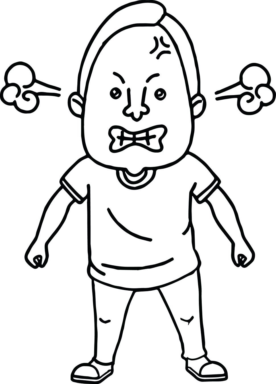 970x1349 Angry Face Coloring Page