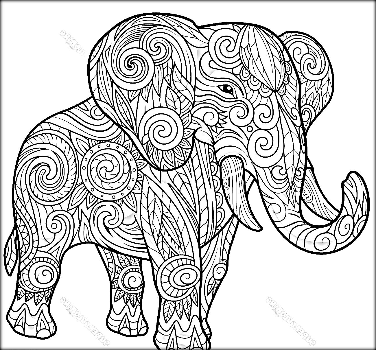 1300x1210 Awesome Abstract Elephant Coloring Pages For Adults Happy