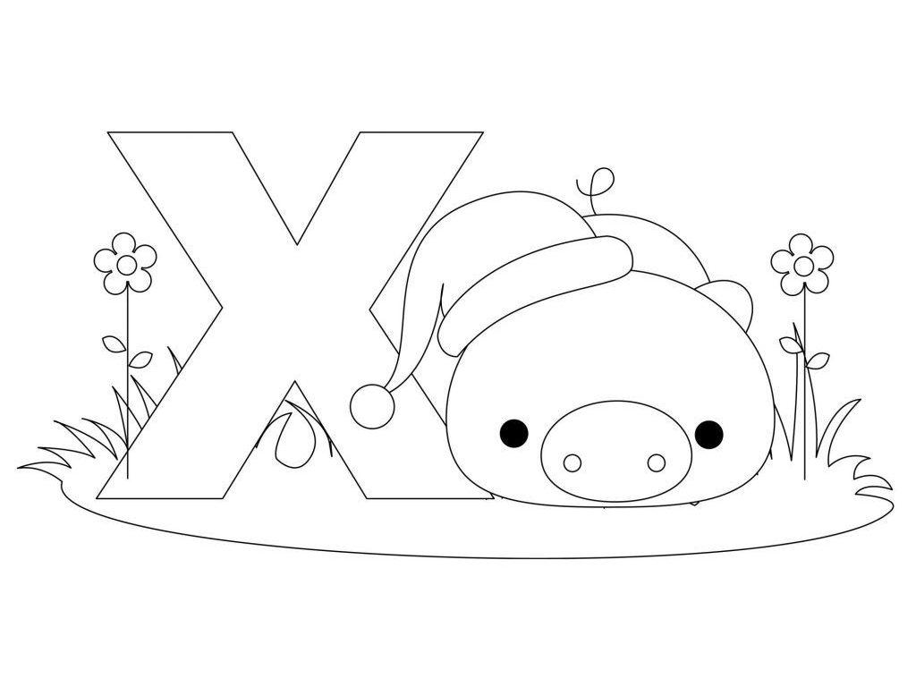 1024x768 Animal Alphabet Coloring Pages Letters Shaped Page Pdf Kids Farm