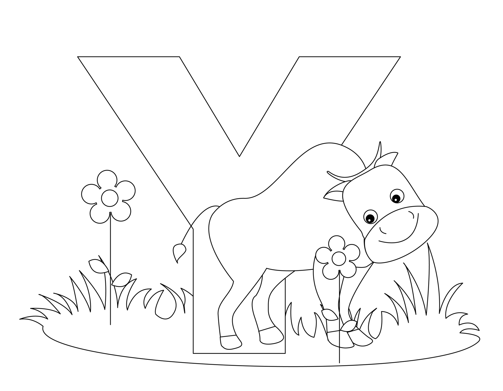 1963x1527 Download Animal Alphabet Letters Y Coloring Pages