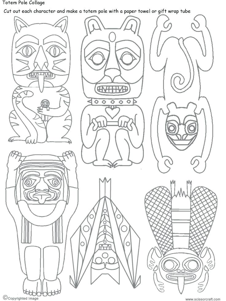 736x981 Totem Pole Coloring Sheets Animal Totem Pole Coloring Pages Totem
