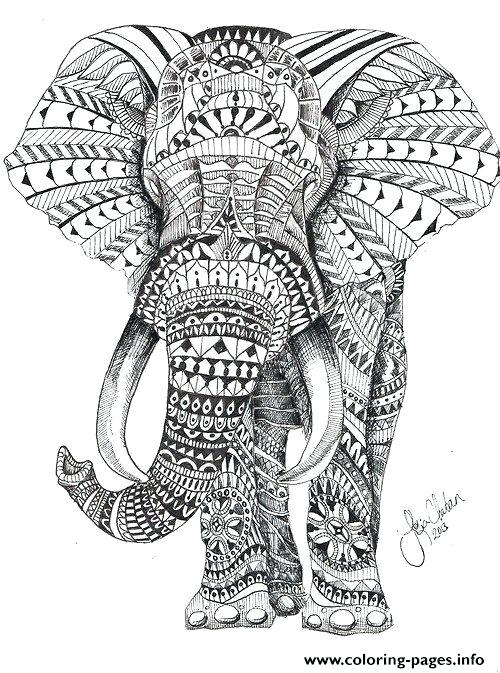 500x673 Hard Coloring Pages For Adults Elephant For Adults Color Hard