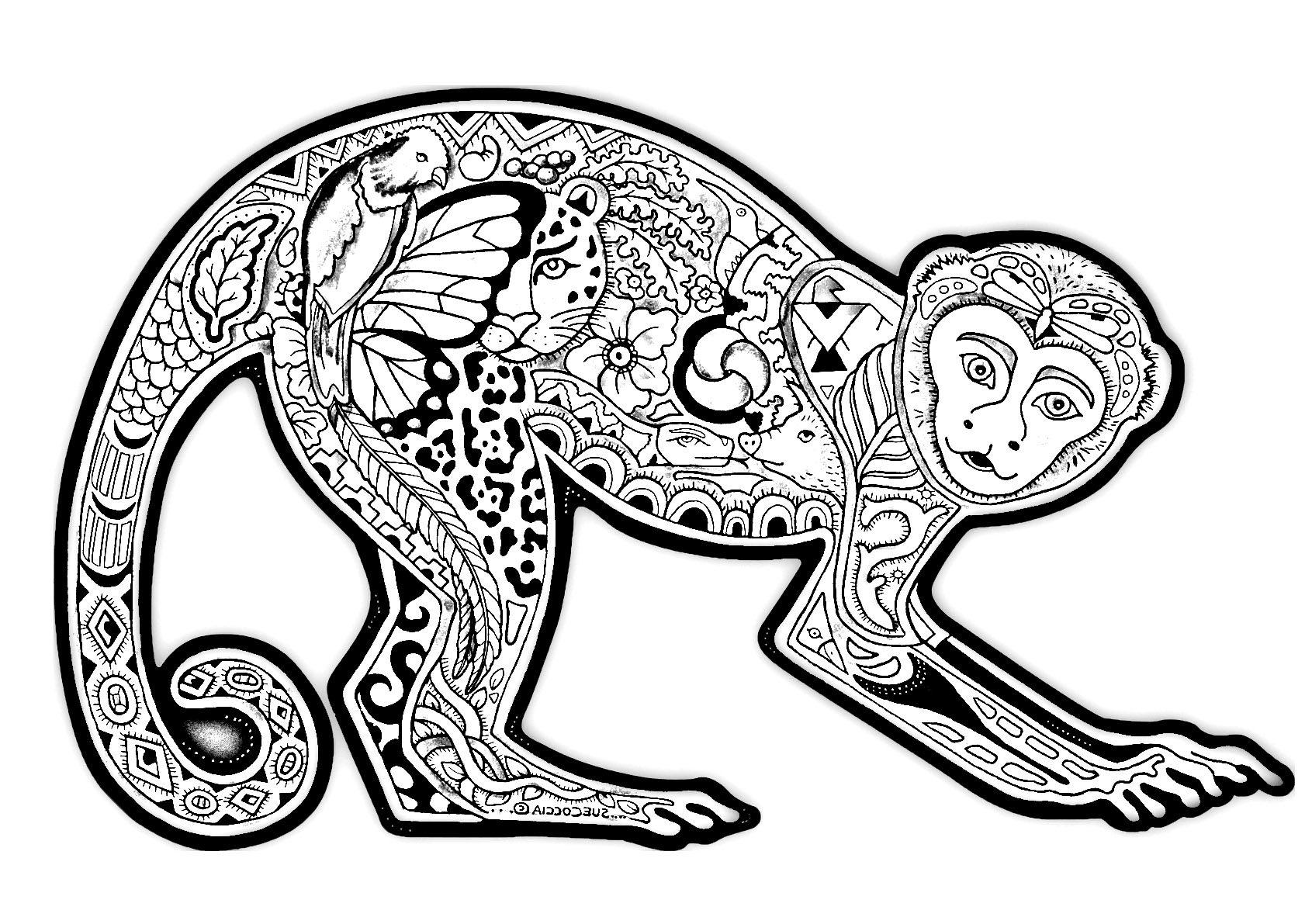 1691x1191 Awesome Free Coloring Page Coloring Difficult Monkey A Coloring