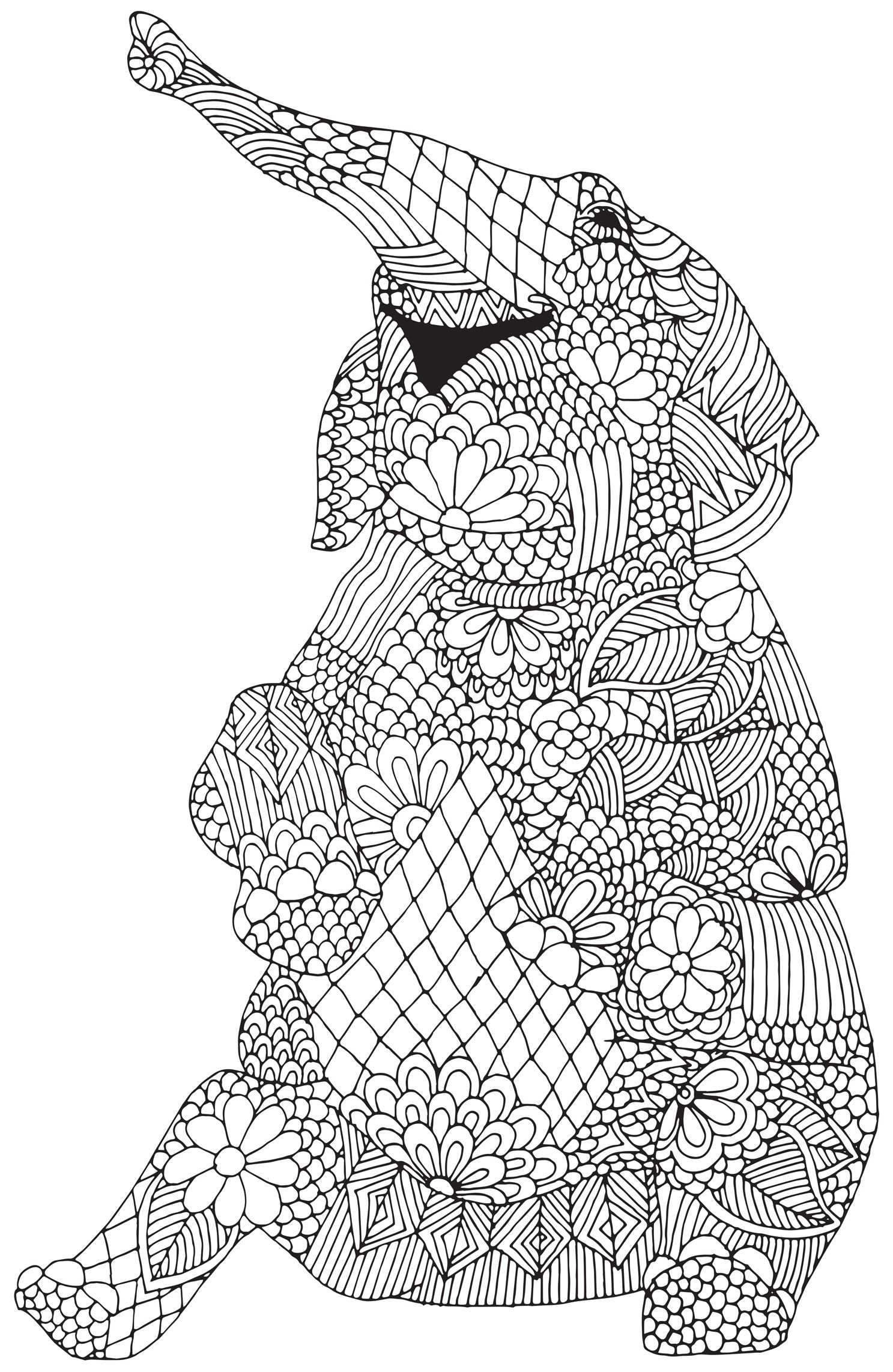 1487x2284 Elephant Patterns Elephants Coloring Pages For Adults To Print