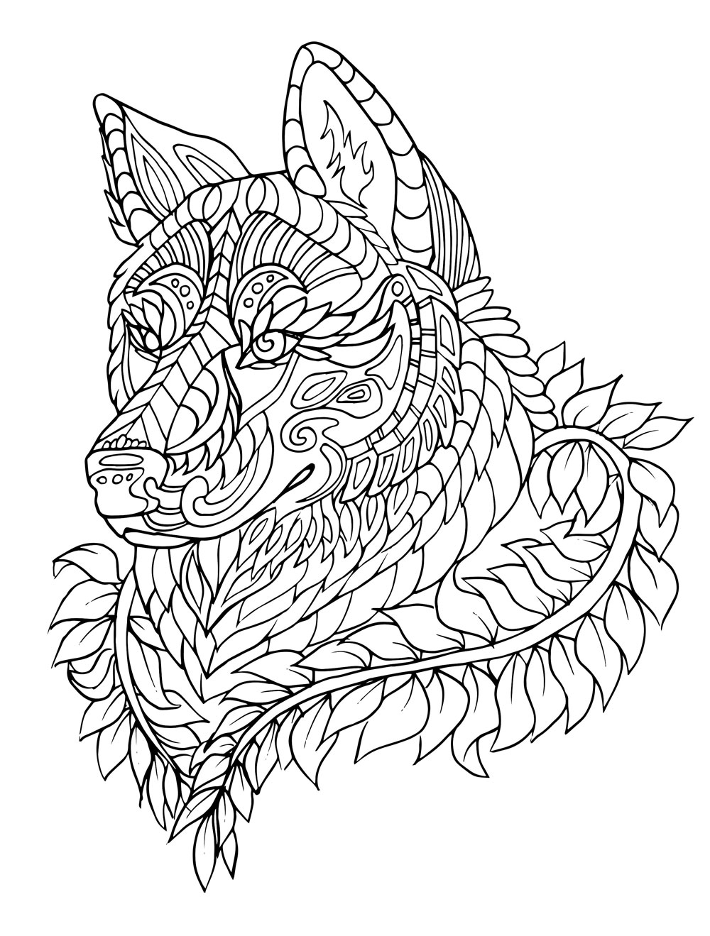 1000x1319 Adult Coloring Pages Animal Patterns Wolf Download