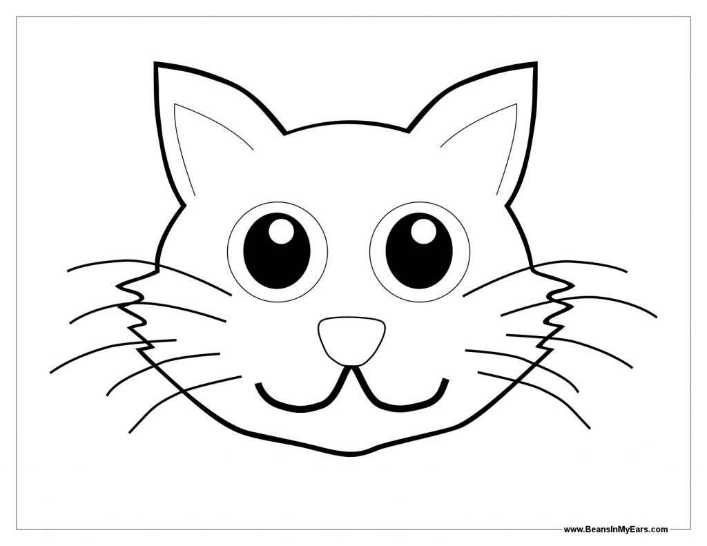 1024x791 Cat Face Coloring Page