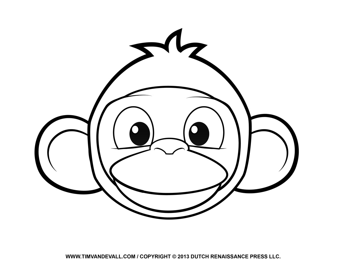 1200x927 Monkey Face Coloring Page