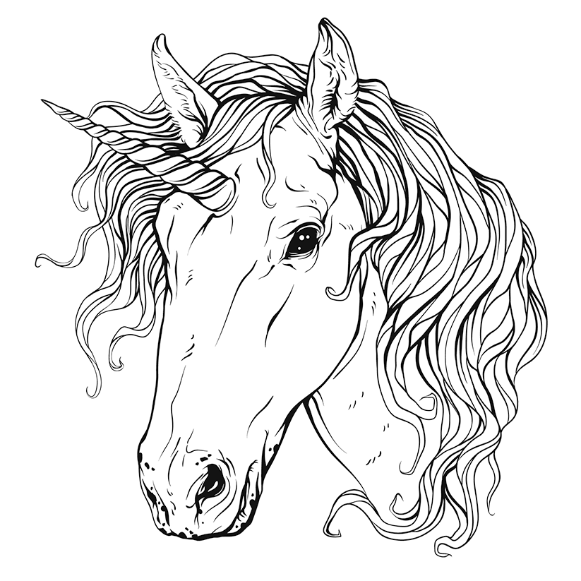 823x823 Unicorn Head Free Coloring Page Adults, Animals, Kids Coloring Pages