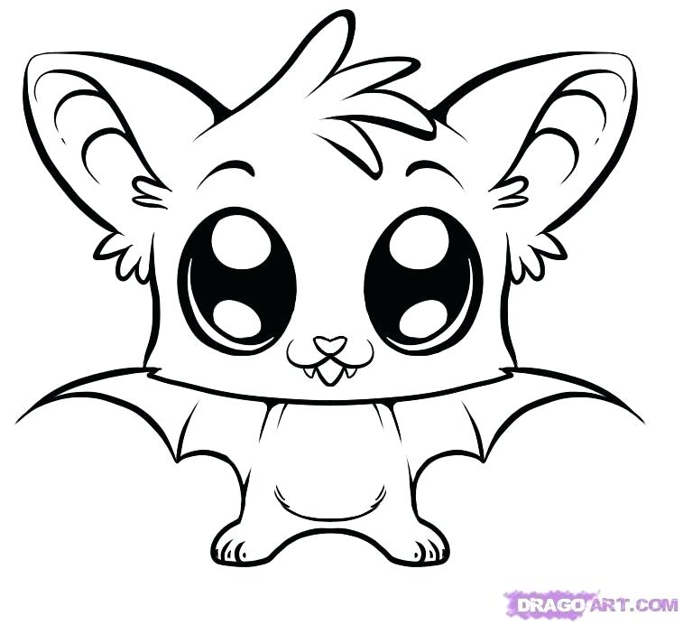 757x692 Coloring Animal Cute Coloring Pages How To Draw A Cute Bat Step