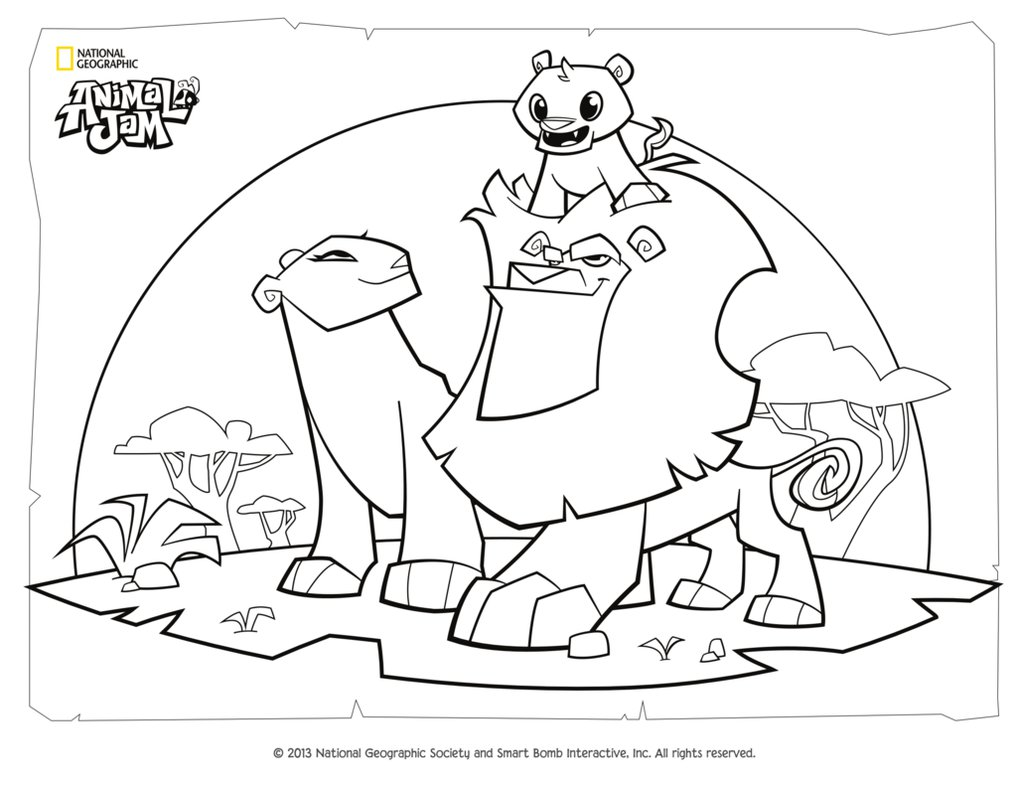 1017x786 Animal Jam Coloring Page Lion Family