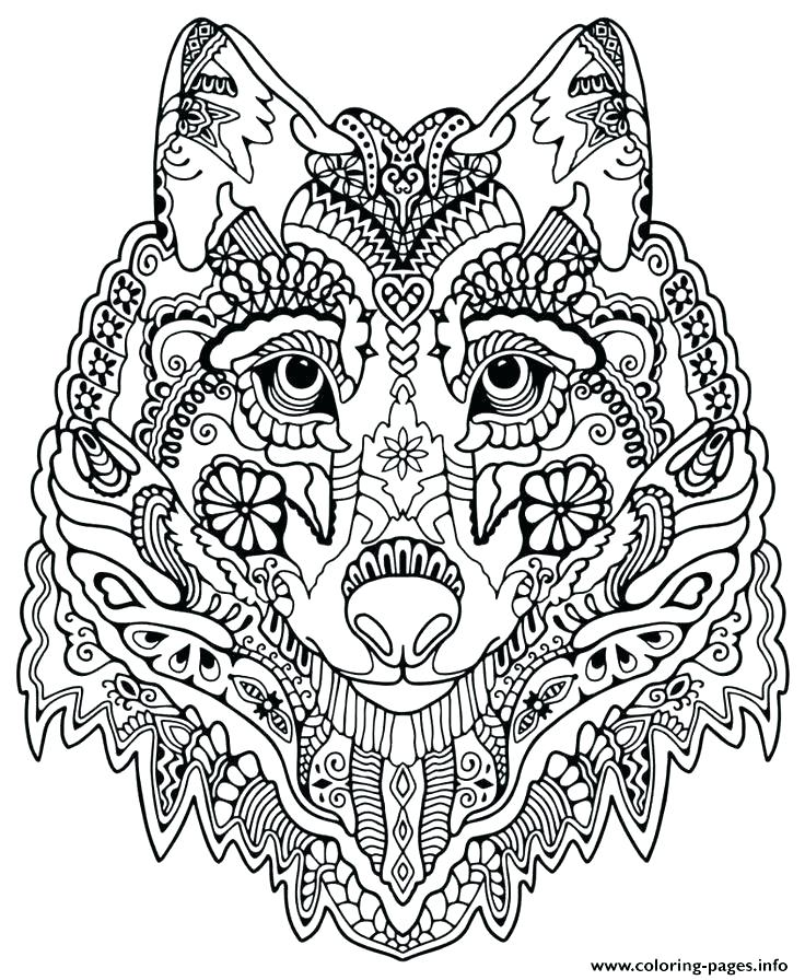 736x896 Mandala Color Pages Coloring Pages Mandala Print Cute Wolf Adult