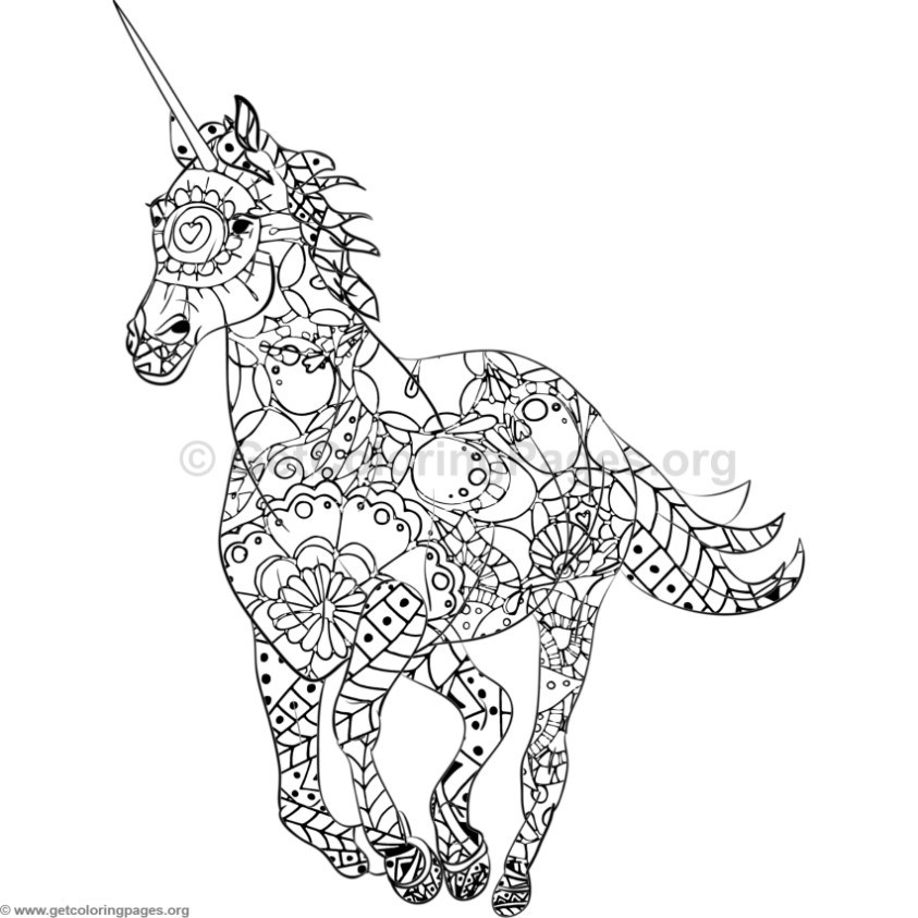843x843 Unicorn Coloring Pages
