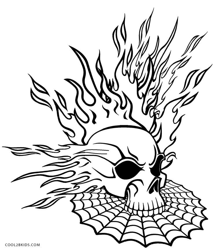 750x870 Flaming Skull Coloring Pages Halloween Adult