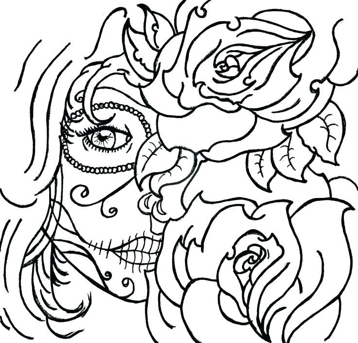 736x705 Sugar Skulls Coloring Pages Sugar Skull Color Pages Sugar Skull