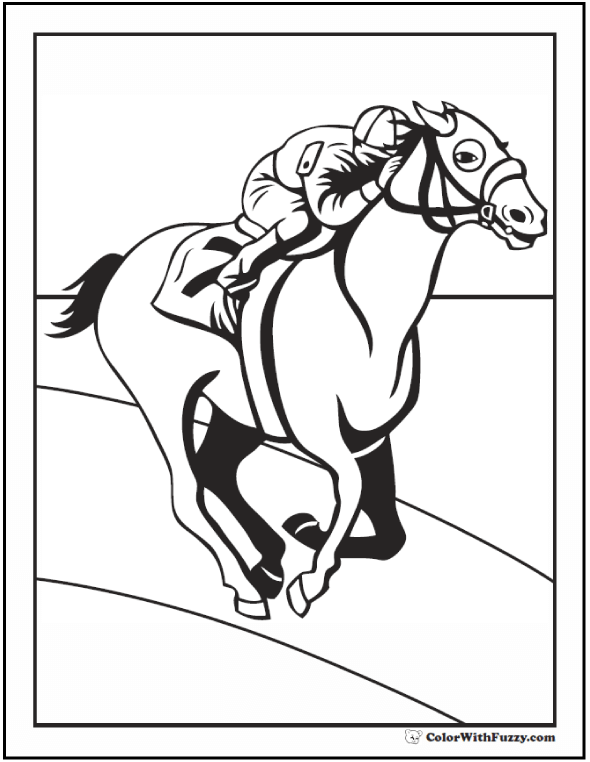 590x762 Race Horse Coloring Page