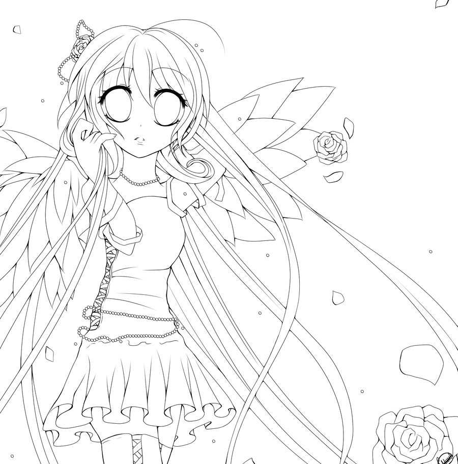 900x911 Anime Angel Coloring Pages