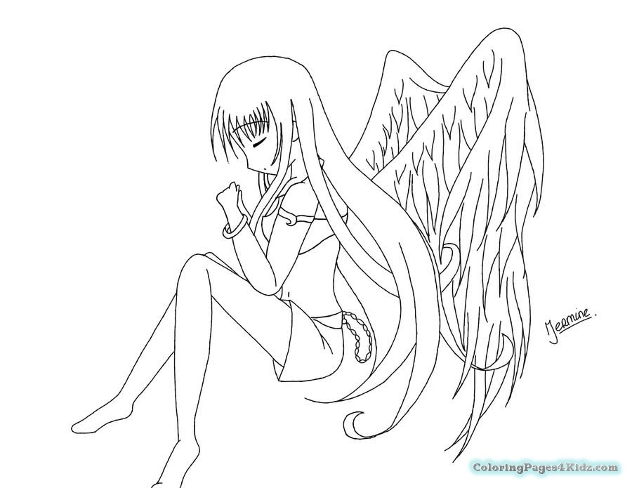 900x695 Anime Angel Coloring Pages Angel Anime Girl Coloring Pages