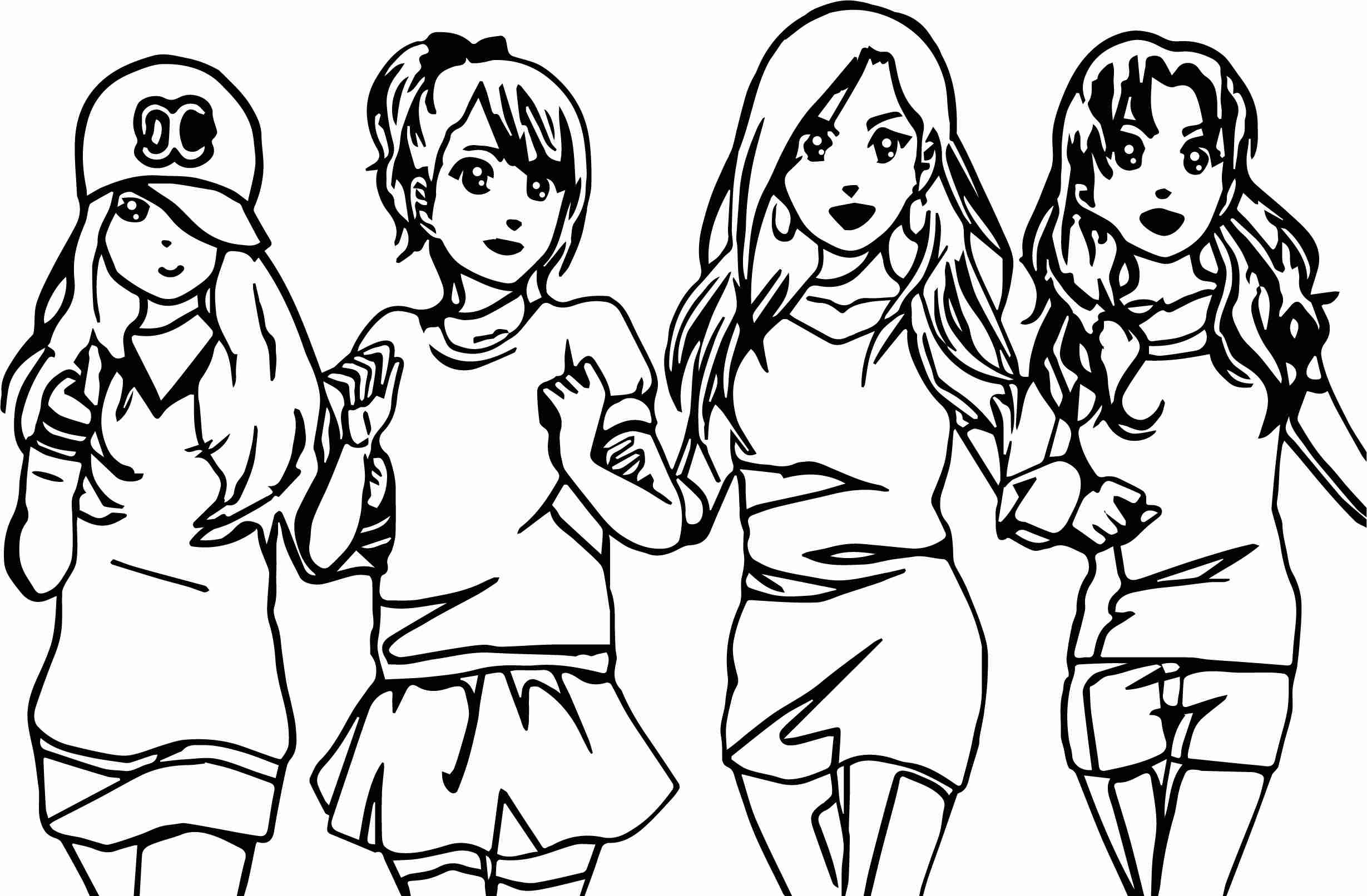 2458x1612 Four Anime Best Friends Forever Coloring Page Wecoloringpage Fair