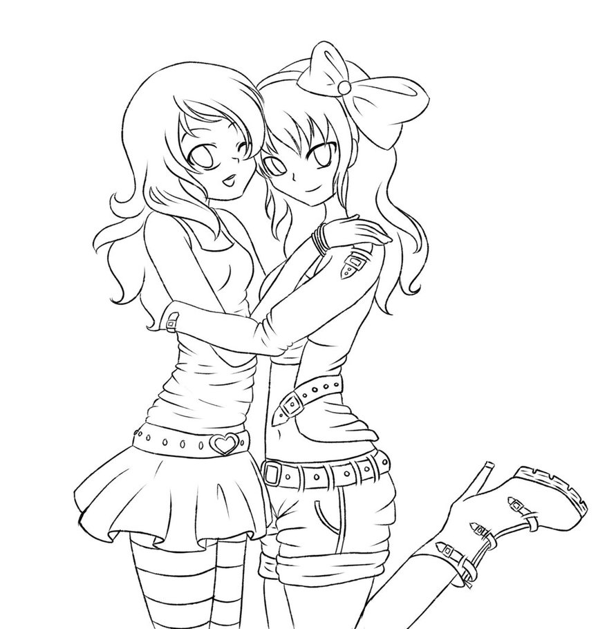 878x910 Anime Girl Best Friends Coloring Page