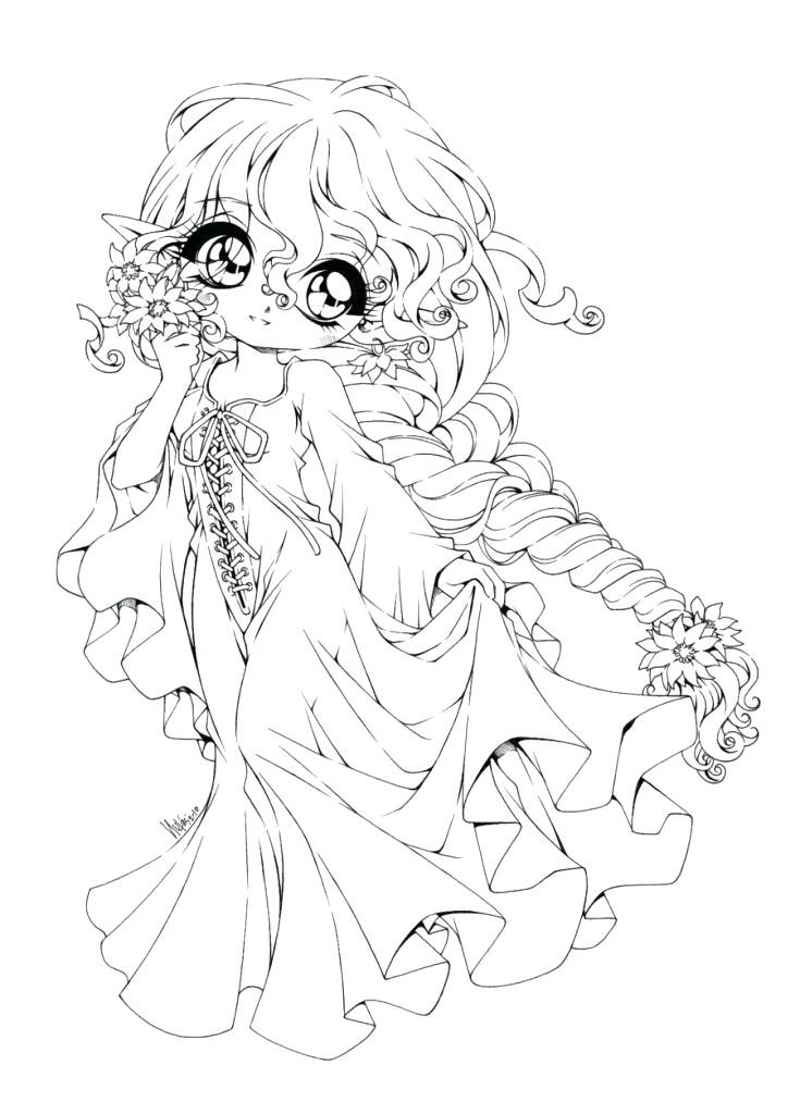 735x1024 Anime Angel Coloring Pages Cute Cartoon With Inspirations