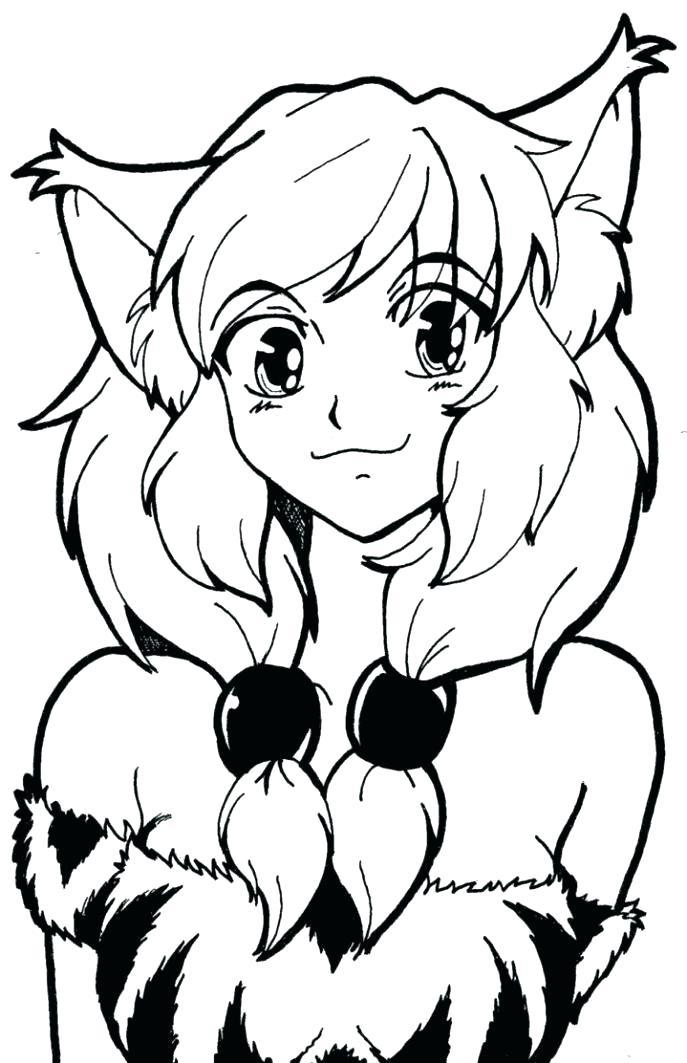 687x1063 Anime Cat Coloring Pages Anime Cat Girl Coloring Page Anime Cat