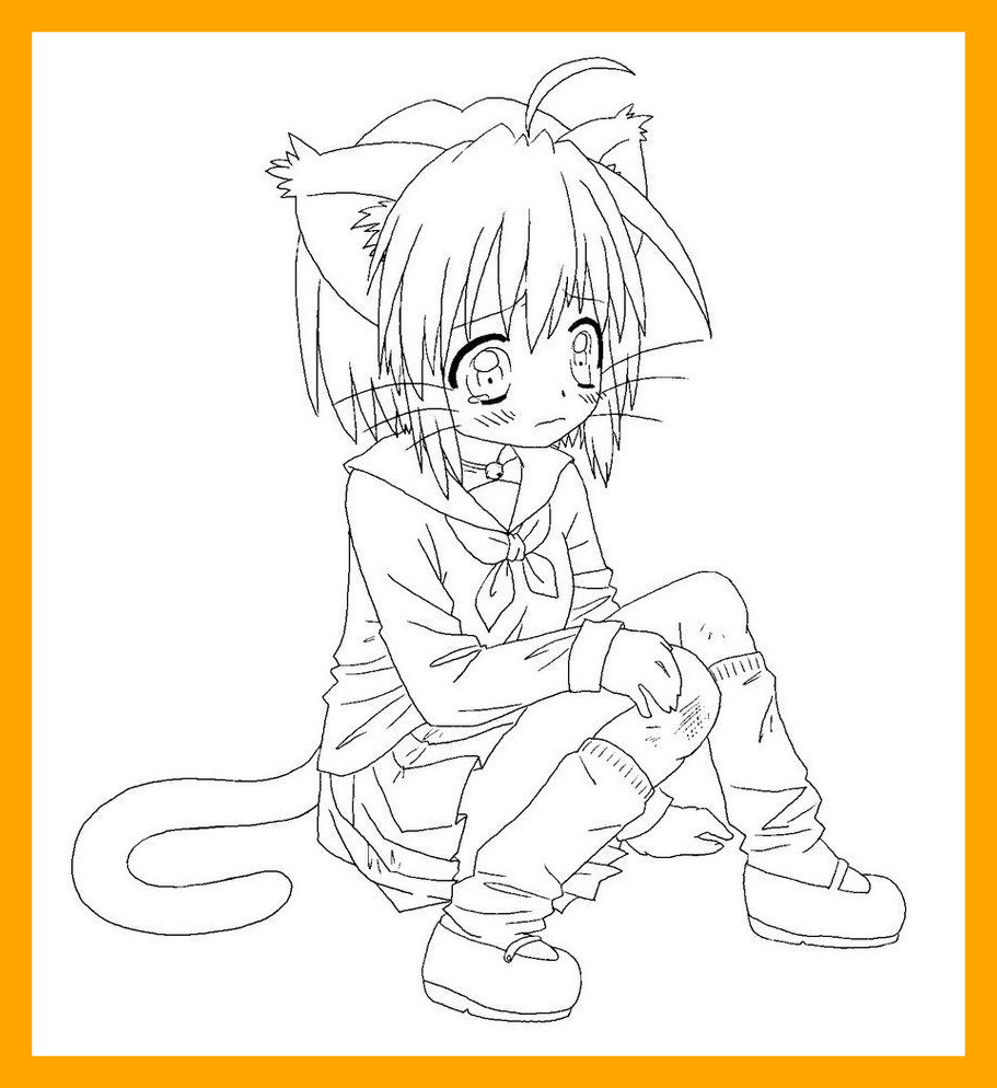 911x994 Incredible Shocking Cute Anime Chibi Cat Coloring Page