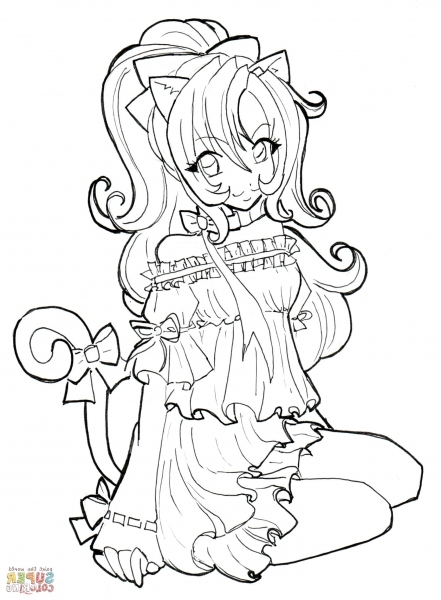 Anime Cat Girl Coloring Pages