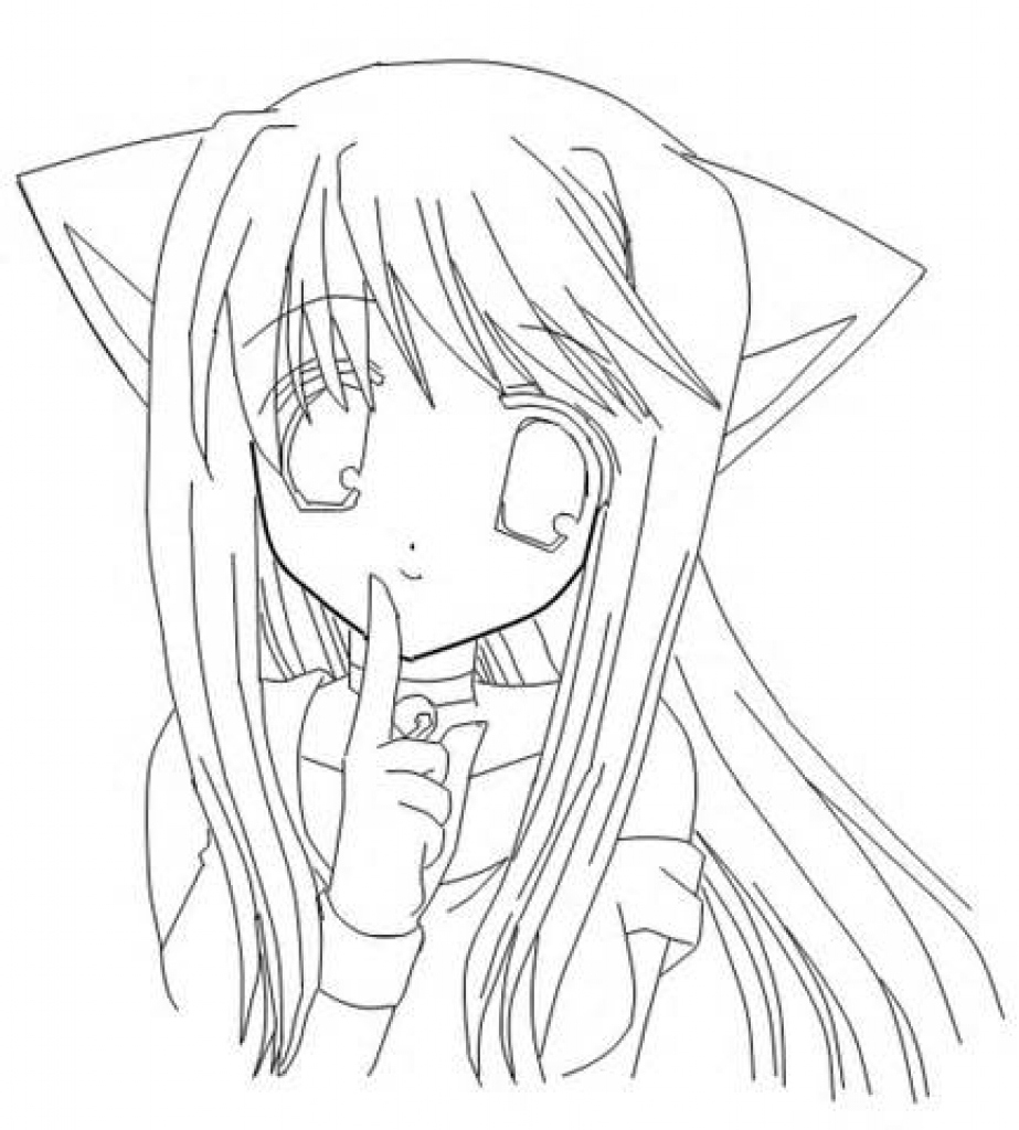 923x1024 Anime Girl Coloring Pages Lovely Anime Cat Girl Coloring Pages