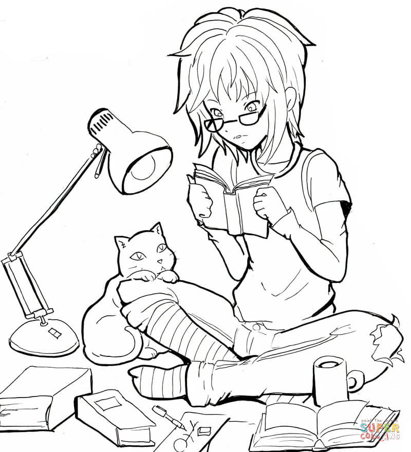 800x880 Cat Girl Coloring Page Free Printable Coloring Pages
