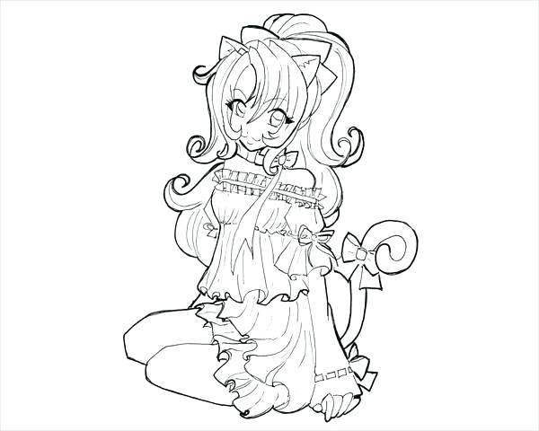 600x480 Anime Cat Coloring Pages Anime Cat Girl Coloring Page Anime Cat