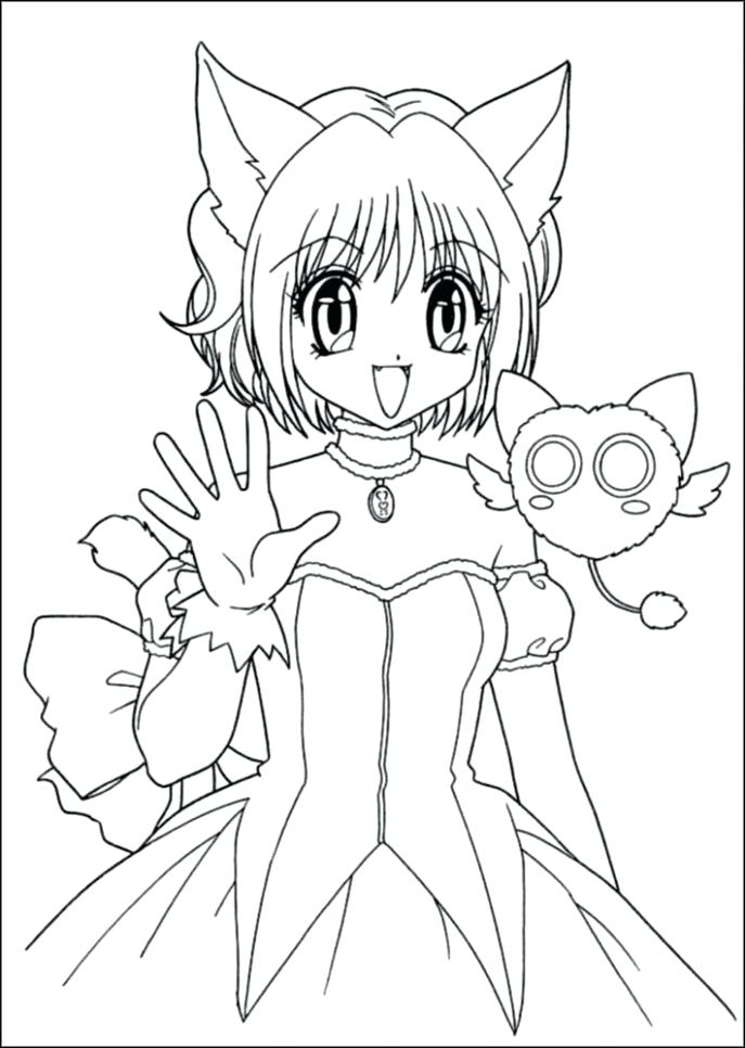 687x966 Lovely Anime Girl Coloring Pages For Anime Cat Girl Coloring Pages