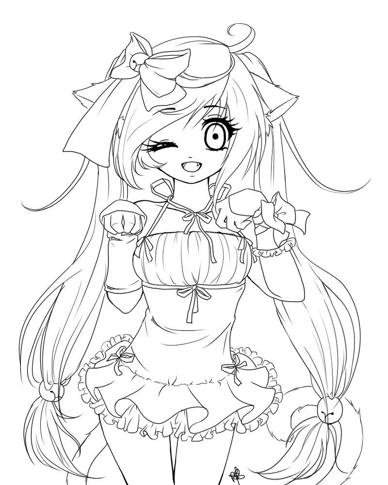 800x1000 Cat Girl Coloring Page Colorings