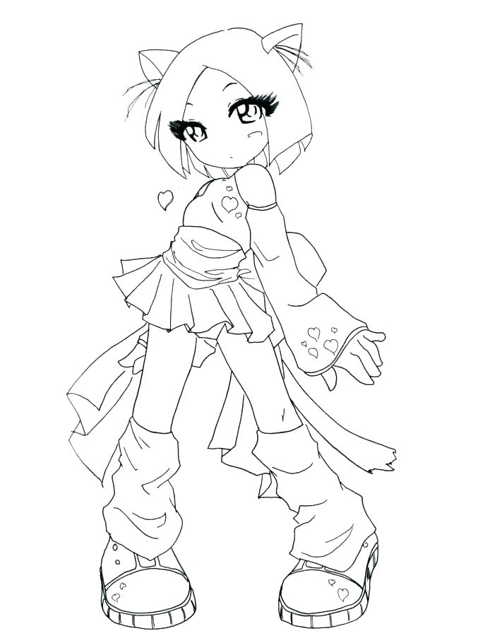 687x893 Anime Cat Coloring Pages Anime Girl Warrior Coloring Pages