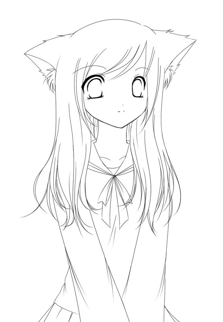 710x1024 Anime Cat Girl Cartoon Coloring Pages