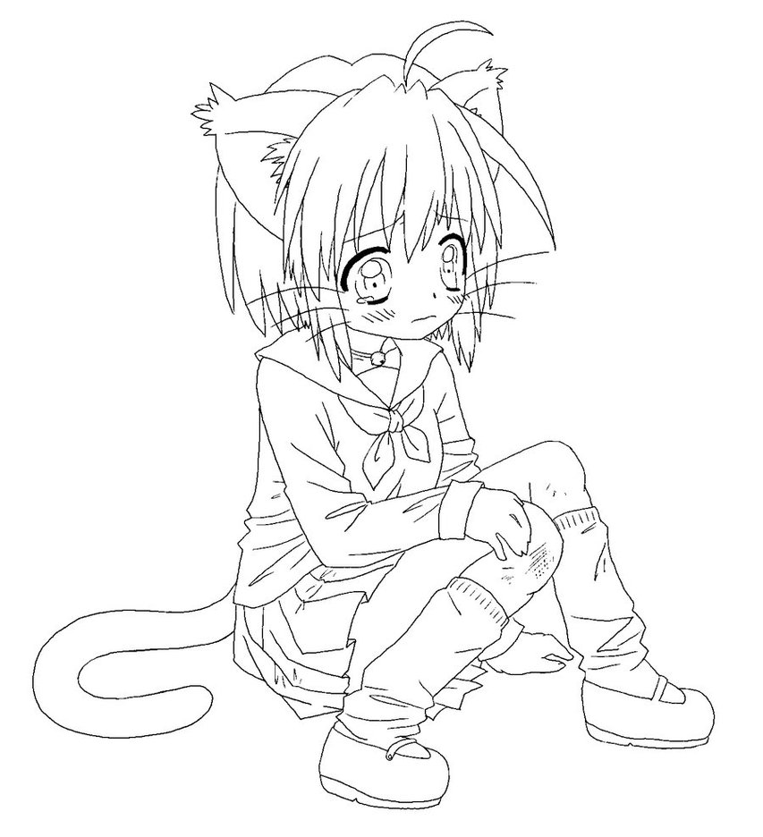 853x936 Cat Girl In Japanese Anime Coloring Page And Pages