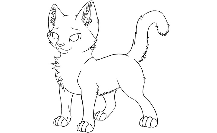 720x444 Realistic Cat Coloring Page