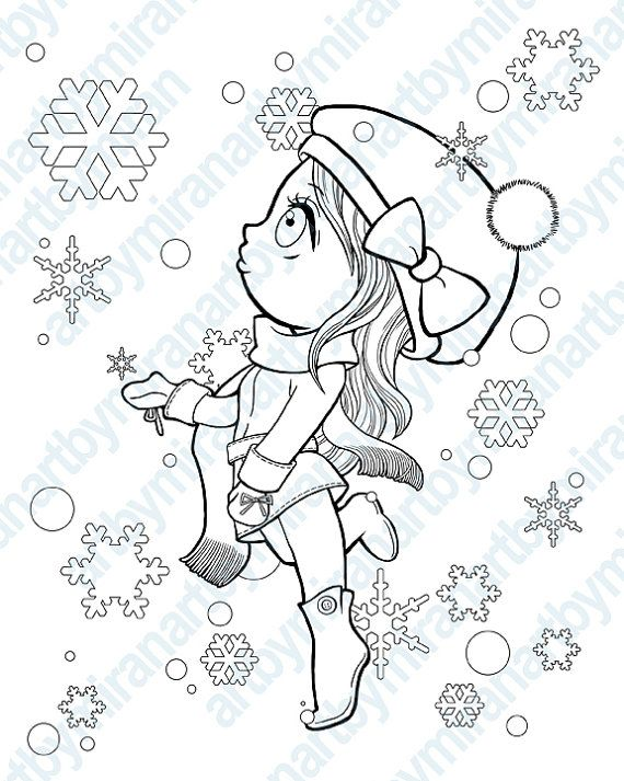 570x713 Christmas Digital St Winter Coloring Page, Snowflake And Girl
