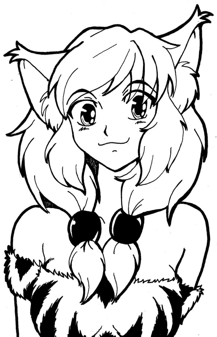 719x1112 Anime Fox Girl Coloring Pages