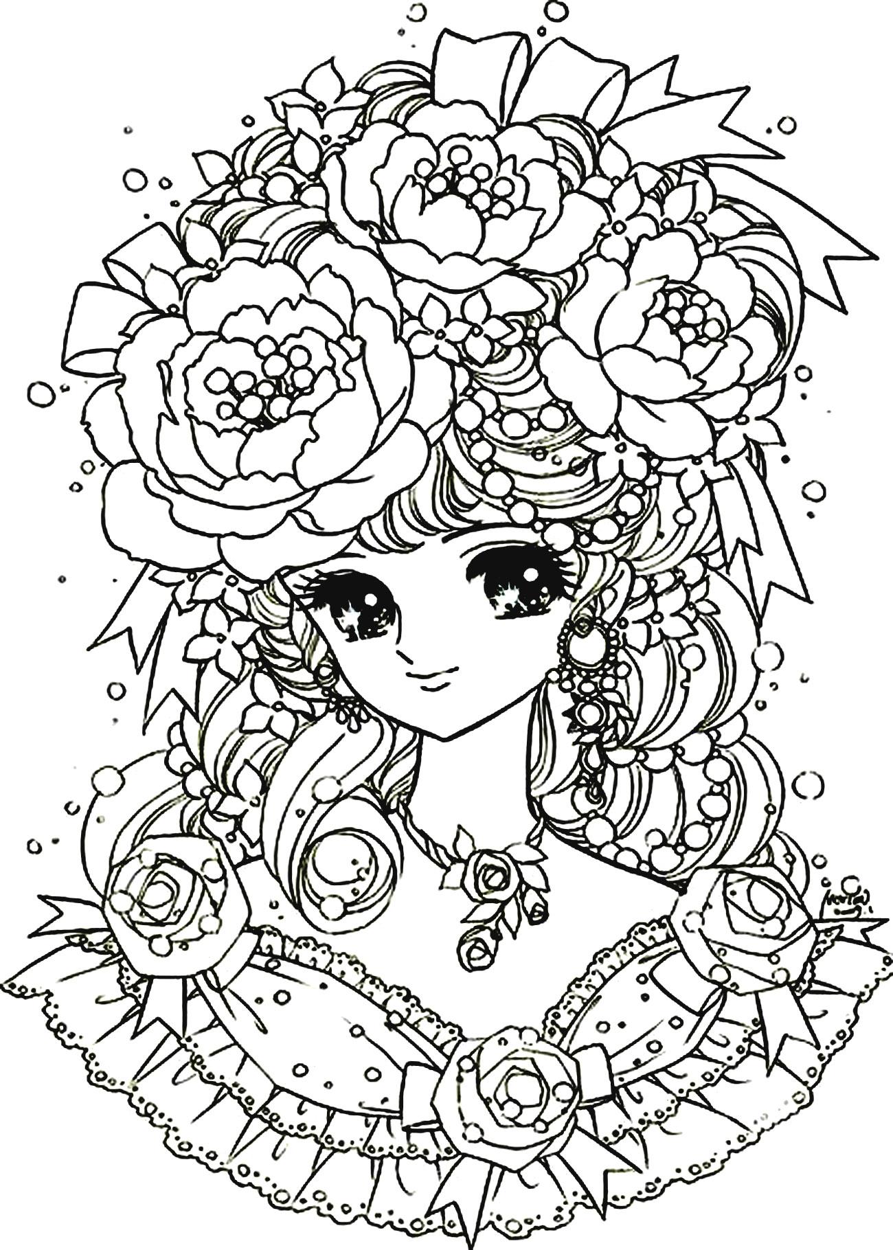 1300x1820 Manga Flowers Girl