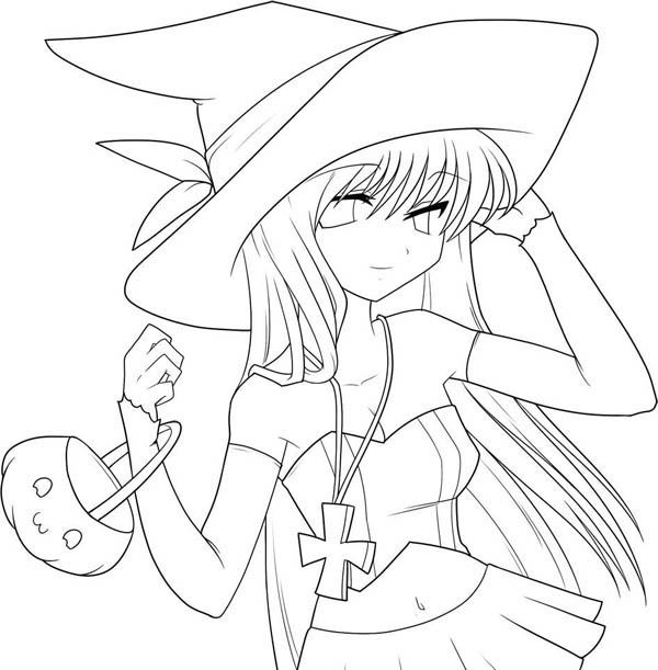 600x611 Anime Girl Coloring Pages Printable Coloring Pages